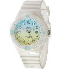 reloj analógico mujer casio lrw-200h-2e2 - blanco con azul
