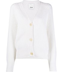 allude ribbed knit v-neck cardigan - neutrals