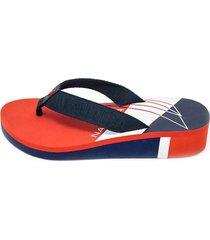 sandalias mujer neriah náutica-rojo con azul