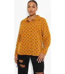 plus geweven oversized blouse met stippen, mustard