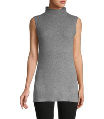 saks fifth avenue women's mockneck cashmere sleeveless sweater - ebony - size xs