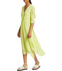 3.1 phillip lim women's elbow-sleeve midi flare dress - limoncella - size 10
