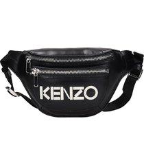 kenzo waist bag in black leather