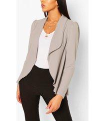 tall puff shoulder blazer, grey