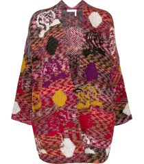 see by chloé colour-block patchwork cardigan - red