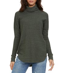 women's michael stars marcy turtleneck shirttail top, size small - green
