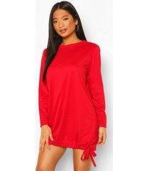 petite sweatshirt jurk met trektouwzoom, red