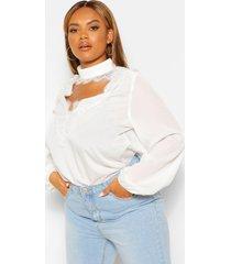 plus geweven blouse met laag kanten decolleté, white