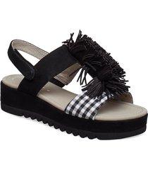sling sandals shoes summer shoes flat sandals svart gabor