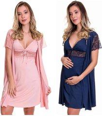 kit 2 camisolas amamentação com robe estilo sedutor 1 azul e 1 rosa - es206-207-v1