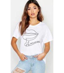 amore lips slogan t-shirt, white