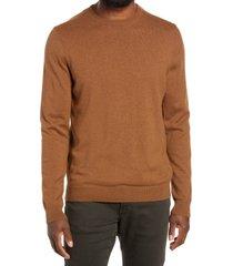 men's nordstrom cotton & cashmere crewneck sweater, size 2xl - brown