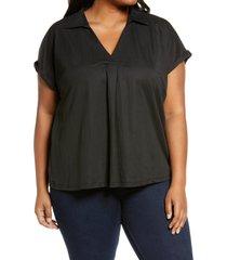plus size women's bobeau rivka pullover knit blouse, size 3x - black