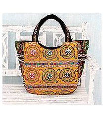 cotton shoulder bag, 'colors of gujarat' (india)
