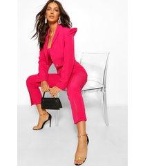 tailored power shoulder military crop blazer, hot pink