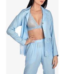 pyjama's / nachthemden ajour pyjamatop met lange mouwen forget-me-not hemelsblauw