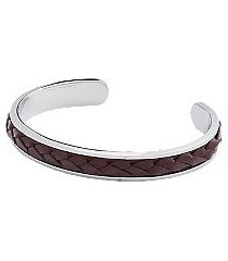 jos. a. bank braided leather cord & silver cuff bracelet