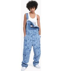 tommy hilfiger women's space jam: a new legacy x tommy jeans denim overall medium wash - xxl