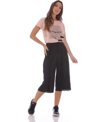 pantalón culotte negro tela plizada  x49501