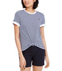 tommy hilfiger sport striped knot front t-shirt