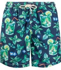 mc2 saint barth cocktail print swim shorts - blue