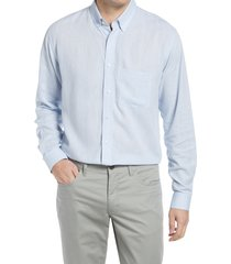 alton lane howard tailored fit cotton & linen button-down shirt, size xx-large in blue at nordstrom