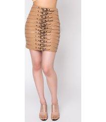 akira miami calling buckle detail pu mini skirt