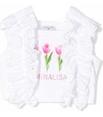 monnalisa white stretch cotton cropped top