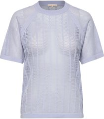 cotton mesh knit top t-shirts & tops short-sleeved blå filippa k soft sport
