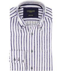 cavallaro overhemd wit-donkerblauw gestreept
