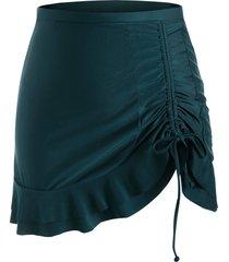 cinched side peplum hem plus size swim skirt