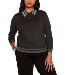 belldini black label plus size puff sleeve button front henley sweater
