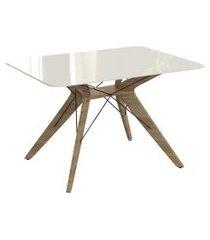 mesa de jantar retangular com tampo de vidro vegas off white e freijó 120 cm