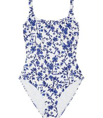 women's tory burch broken logo colorblock one-piece tank swimsuit, size small - blue