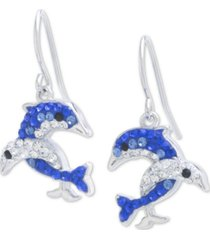 giani bernini crystal dolphin drop earrings in sterling silver, created for macy's