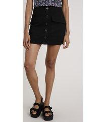 saia feminina curta com botões e bolsos preta