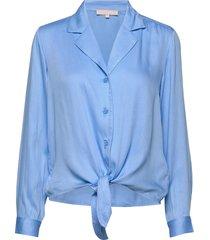 blaze ls tie shirt blus långärmad blå soft rebels