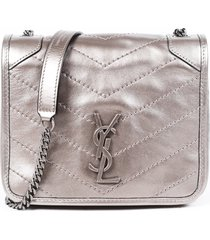 saint laurent niki chain wallet platinum matelasse ysl crossbody bag silver/metallic/logo sz: m