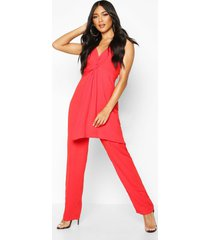 knot front wide leg cami jumpsuit, red