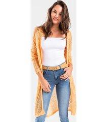 camila long knit cardigan - peach