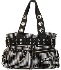 banned apparel handcuff gothic rock punk tattoo stripes handbag purse bbn754
