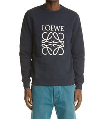 men's loewe anagram logo embroidered sweatshirt, size small - blue