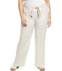 plus size women's caslon new belted yarn dyed linen pants