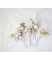 kwiatowe wsuwki do włosów - pudrowy róż