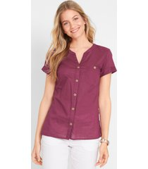 katoenen blouse met korte mouwen