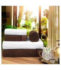 toalha de banho 100 algodáo penteado jogo com 2 banháo 2 rosto e 1 piso marrom e branca