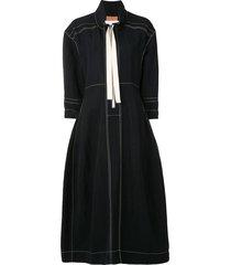 jil sander zip-up collared midi dress - black