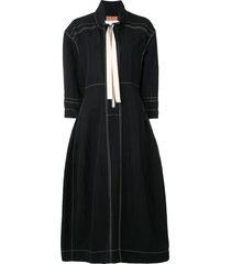 jil sander zip-up collared midi dress - black