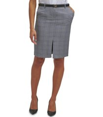 calvin klein belted plaid pencil skirt