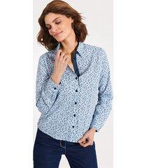 blouse mona wit::lichtblauw::marine